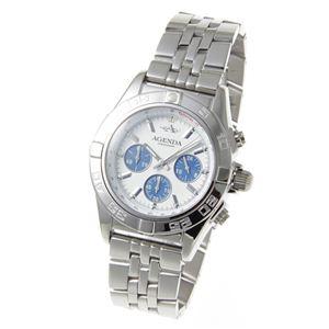 AGENDA(アジェンダ) 10気圧防水 紳士 クロノグラフ 腕時計 AG-8045-01 ホワイト - 拡大画像