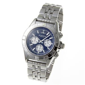 AGENDA(アジェンダ) 10気圧防水 紳士 クロノグラフ 腕時計 AG-8045-02 ブラック - 拡大画像