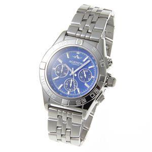 AGENDA(アジェンダ) 10気圧防水 紳士 クロノグラフ 腕時計 AG-8045-03 ブルー - 拡大画像