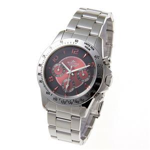 AGENDA(アジェンダ) 10気圧防水 紳士 クロノグラフ 腕時計 AG-8042-02 レッド - 拡大画像