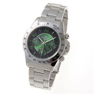 AGENDA(アジェンダ) 10気圧防水 紳士 クロノグラフ 腕時計 AG-8042-03 グリーン - 拡大画像