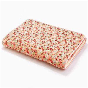 超軽量極薄敷布団ルナエアー セミダブル 花柄ピンク 綿100% 日本製 - 拡大画像