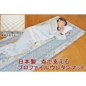 日本製 点で支えるプロファイルウレタンマット シングルブルー 綿100%