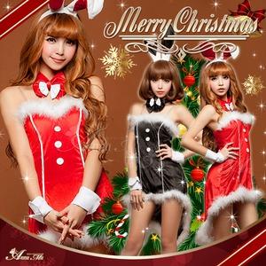 【サンタ】C371/コスチューム/コスプレ衣装/クリスマス/制服/サンタ衣装/バニーガール C371bk カラー:ブラック - 拡大画像