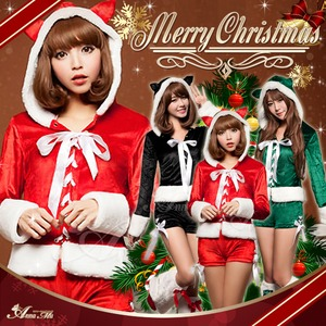 【サンタ】s023/コスチューム/コスプレ衣装/クリスマス/制服/サンタ衣装 s023bk カラー:ブラック - 拡大画像