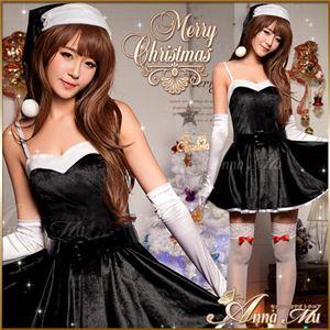 サンタコスプレ コスチューム ドレス ワンピース c335 黒 - 拡大画像