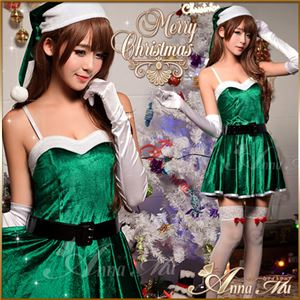 サンタコスプレ コスチューム ドレス ワンピース c335 緑 - 拡大画像