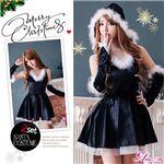 サンタコスプレ コスチューム ドレス ワンピース s025-bk 黒 ファー
