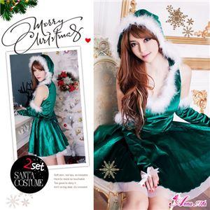 サンタコスプレ コスチューム ドレス ワンピース s025-gr 緑 ファー - 拡大画像