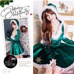 サンタコスプレ コスチューム ドレス ワンピース s025-gr 緑 ファー
