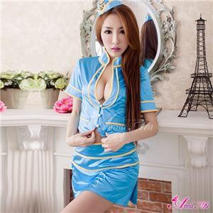 コスプレ コスチューム CA スチュワーデス 制服 z1546 青 水色 衣装 - 拡大画像