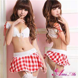 コスプレ コスチューム 女子高制服 制服 学生服 セーラー服 z434 赤 チェック - 拡大画像
