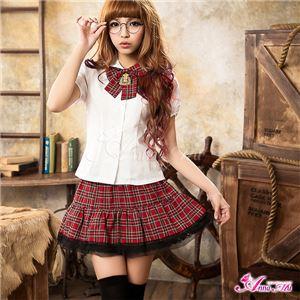 コスプレ コスチューム 女子高制服 制服 学生服 セーラー服 2点 z683 赤 チェックブレザーセーラー服 - 拡大画像