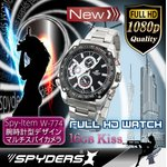 【防犯用】【超小型カメラ】 【小型ビデオカメラ】腕時計 腕時計型 スパイカメラ スパイダーズX (W-774) フルハイビジョン 動体検知 16GB内蔵