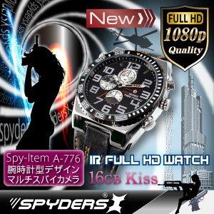 【防犯用】【超小型カメラ】【小型ビデオカメラ】腕時計型 スパイカメラ スパイダーズX (W-776) フルハイビジョン 赤外線 16GB内蔵 - 拡大画像
