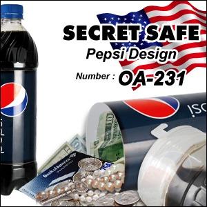 【隠し金庫】 ペットボトル型 セーフティボックス 『SECRET SAFE シークレットセーフ』(OA-231) Pepsi アメリカン雑貨 米国直輸入 貴重品の保管 収納 タンス貯金 へそくり 防犯 スパイグッズ - 拡大画像