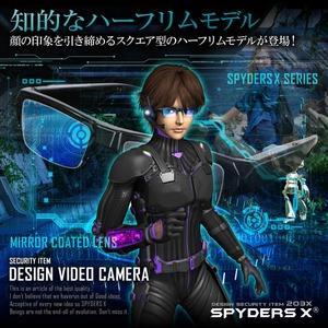 【防犯用】【超小型カメラ】【小型ビデオカメラ】 メガネ型 スパイカメラ スパイダーズX (E-280) 1080P ミラーコートレンズ 32GB内蔵 h03
