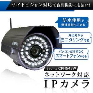 防水仕様 屋外・屋内ネットワークカメラ(IPカメラ) Bシリーズ IP-CPB643W - 拡大画像