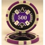 Quattro Assi(クアトロ・アッシー)ポーカーチップ(500)青紫 【25枚セット】