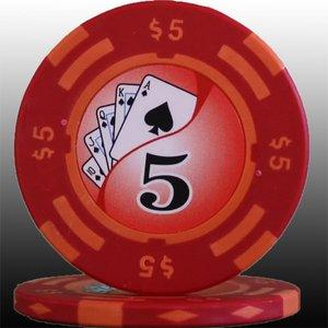 フォースポット チップ ( 5$ ) <25枚セット> - カジノチップ・ポーカーチップ - 拡大画像