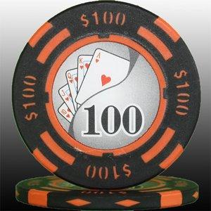 フォースポット チップ ( 100$ ) <25枚セット> - カジノチップ・ポーカーチップ - 拡大画像