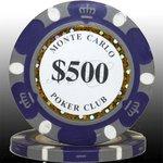 MONTECARLO モンテカルロ・ポーカーチップ<500>青紫 25枚セット