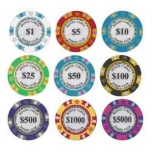 モンテカルロ・ポーカーチップサンプル10枚セット - 拡大画像