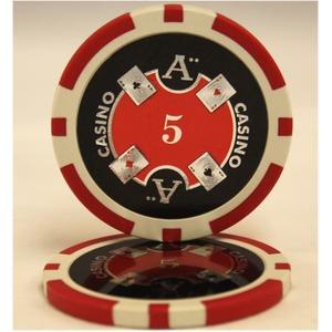 Quattro Assi(クアトロ・アッシー)ポーカーチップ(5)赤 【25枚セット】 - 拡大画像