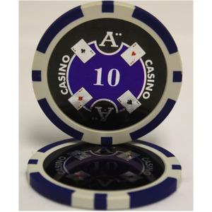 Quattro Assi(クアトロ・アッシー)ポーカーチップ(10)青 <25枚セット> - 拡大画像