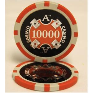 Quattro Assi(クアトロ・アッシー)ポーカーチップ(10000)橙 <25枚セット> - 拡大画像