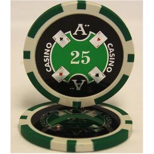 Quattro Assi(クアトロ・アッシー)ポーカーチップ(25)緑 <25枚セット> - 拡大画像