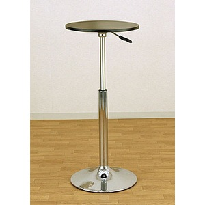バーテーブル(ガス圧昇降式テーブル) 【丸型/直径40cm】 360度回転 ブラック(黒) - 拡大画像