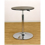 バーテーブル(ガス圧昇降式テーブル) 【丸型/直径55cm】 360度回転 ブラック(黒)