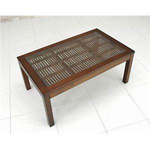 強化ガラスセンターテーブル/バンブーローテーブル 【75cm×45cm】 木製(天然木)/竹 - 拡大画像