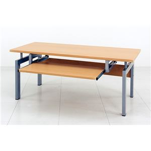 ロータイプPCデスク/パソコンデスク 【幅90cm】 ナチュラル スチールパイプ脚  スライドテーブル付きの詳細を見る