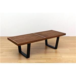 ネルソンベンチ(プラットホームベンチ) 【幅120cm】 木製 ミッドセンチュリー風 ライトブラウン