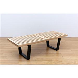 ネルソンベンチ(プラットホームベンチ) 【幅120cm】 木製 ミッドセンチュリー風 ナチュラル