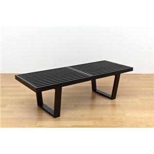 ネルソンベンチ(プラットホームベンチ) 【幅120cm】 木製 ミッドセンチュリー風 ブラック(黒)