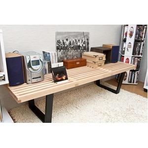 ネルソンベンチ(プラットホームベンチ) 【幅150cm】 木製 ミッドセンチュリー風 アジャスター付き メープル