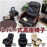 レバー式リクライニング/360度回転高座椅子 ポケット/肘付き ブラック(黒) 【完成品】