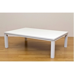 NEW ファッションこたつテーブル 【長方形/120cm×80cm】 木製 本体 ホワイト(白) - 拡大画像