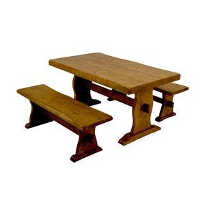 浮造りダイニングベンチ(ベンチ単品) 【幅120cm】 木製(松/パイン) 木目調 アジャスター付き