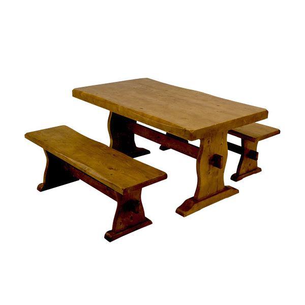 重厚感あふれる、天然木パイン(松)の木目がきれいな「浮造りダイニングテーブル(テーブル単品) 【幅135cm】 木製(松/パイン) 木目調 アジャスター付き」