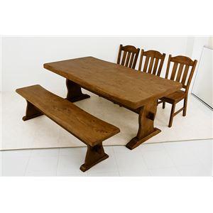 浮造りダイニングテーブル(テーブル単品) 【幅180cm】 木製(松/パイン) 木目調 アジャスター付き