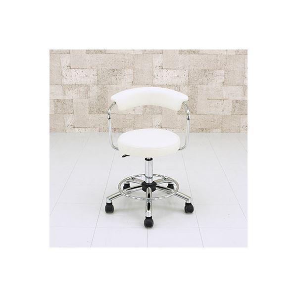 キャスター付きデザインチェア ソフトレザー/スチールパイプ ガス圧昇降式 ホワイト(白)