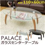 強化ガラスセンターテーブル(ローテーブル) 【PALACE】 オーバル型 アジャスター/棚板付き クリア