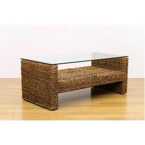 アジアン調センターテーブル/ローテーブル 幅102cm 天然木/強化ガラス製天板 『ABACA』