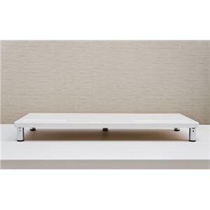 PCモニタースタンド 【ロータイプ】 幅60cm×奥行24cm×高さ6.5cm ホワイト(白) - 拡大画像