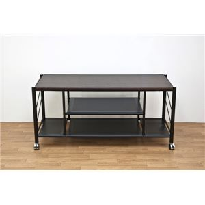 ゲーム機収納AVラック(テレビ台/テレビボード) 幅100cm キャスター付き 棚板付き ブラック(黒)
