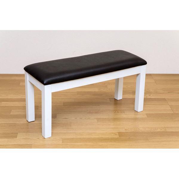 NEWダイニングベンチ(ダイニングチェア) 幅90cm 木製(天然木)/合成皮革 ホワイト(白)